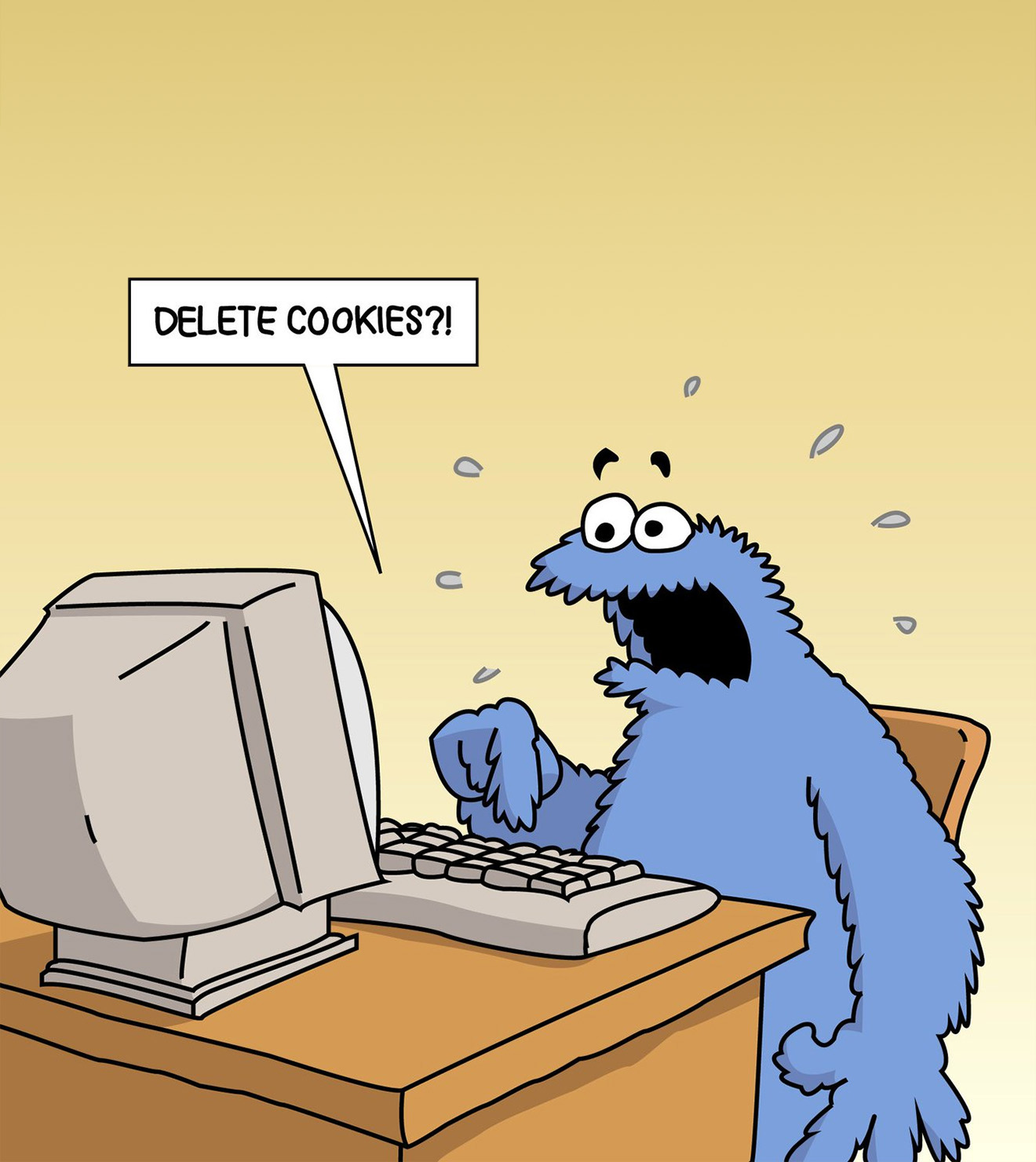 A Cartoon of Cookie Monster expressing despair at the proposition of deleting cookies.